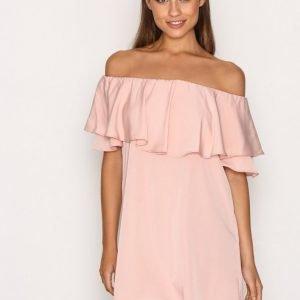 Topshop Dip Hem Bardot Dress Loose Fit Mekko Light Pink