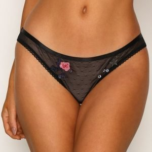 Topshop Embroidered Mini Knickers Brief Alushousut Black