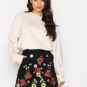 Topshop Embroidered Mini Skirt Minihame Black
