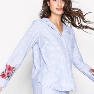 Topshop Embroidered Night Shirt Yöpaita Blue