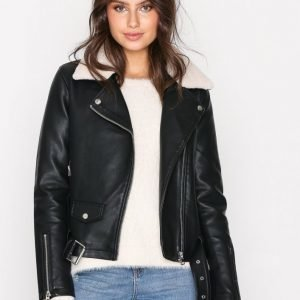 Topshop Faux Leather Bike Jacket Nahkatakki Black