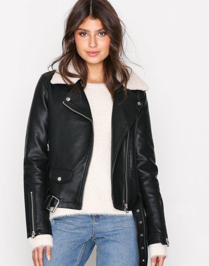 Topshop Faux Leather Bike Jacket Nahkatakki Black - Vaatekauppa24.fi f73d18848f