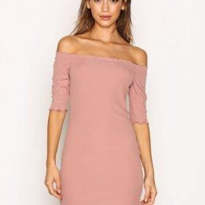 Topshop Frill Bardot Ss Dress Kotelomekko Light Beige