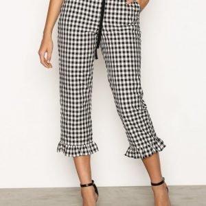 Topshop Frill Hem Trousers Housut Black / White