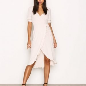 Topshop Frill Sleeve Wrap Midi Dress Loose Fit Mekko Beige
