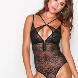 Topshop Hook And Eye Lace Body Black