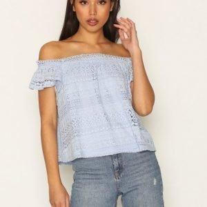 Topshop Lace Bardot T-Shirt Pitkähihainen Paita Light Blue