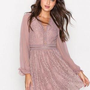 Topshop Lace Detail Mini Dress Pitkähihainen Mekko Dusty Pink