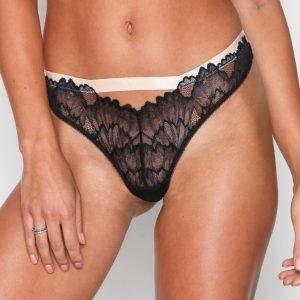 Topshop Lace Thong Stringit Black