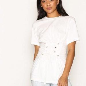 Topshop Longline Corset T-Shirt T-Paita White