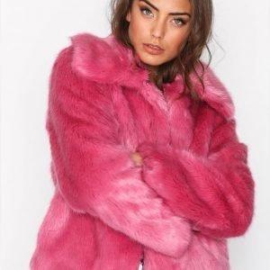 Topshop Lux Fur Coat Tekoturkki Bright Pink