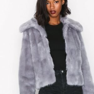 Topshop Lux Fur Coat Tekoturkki Grey