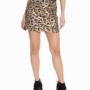 Topshop Metallic Leopard Print A-Line Skirt