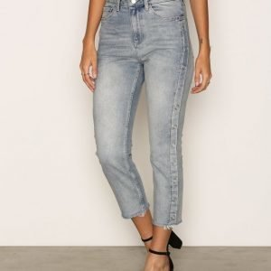 Topshop Moto Bleach Popper Side Straight Leg Jeans Loose Fit Farkut Bleach Acid Wash