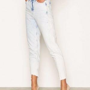 Topshop Moto Bleach Twisted Seam Mom Jeans Straight Farkut White