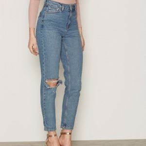 Topshop Moto Mid Blue Rip Mom Jeans Loose Fit Farkut Mid Blue