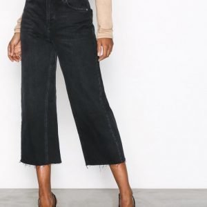 Topshop Moto Wide Leg Jeans Farkut Black