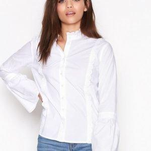 Topshop Poplin Ruffle Frill Shirt Kauluspaita White