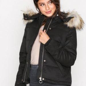 Topshop Quilted Puffer Jacket Untuvatakki Black