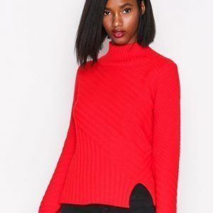Topshop Rib Funnel Pullover Neulepusero Red