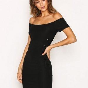 Topshop Rib Lace Up Bandeau Dress Kotelomekko Black