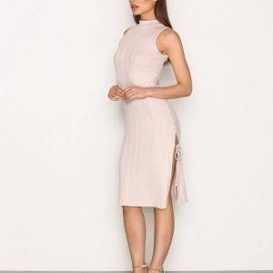 Topshop Ribbed Side Split Midi Dress Kotelomekko Pink