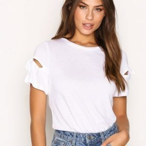 Topshop Ribbon Sleeve T-Shirt T-Paita White