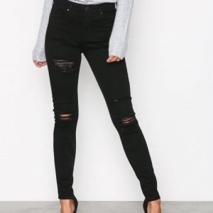 Topshop Rip Leigh Jeans Skinny Farkut Black
