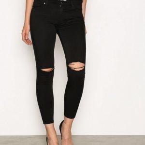 Topshop Rip Leigh Jeans Slim Farkut Black