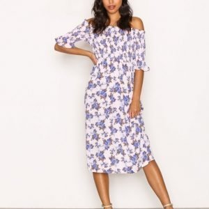 Topshop Shirred Floral Bardot Dress Loose Fit Mekko Pink