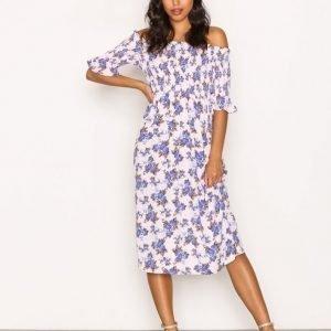 Topshop Shirred Floral Bardot Dress Loose Fit Mekko Pink