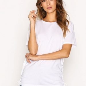 Topshop Side Lace Up Tee T-Paita White