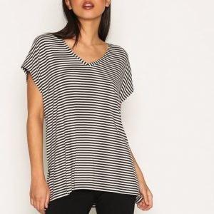 Topshop Side Split T-Shirt T-Paita Black / White