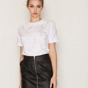Topshop Star Embellished T-Shirt T-Paita White