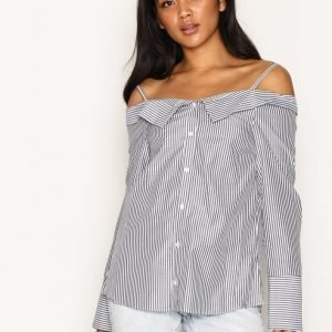 Topshop Stripe Bardot Shirt Arkipaita Grey