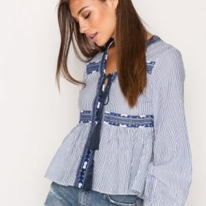 Topshop Stripe Embroidered Smock Top Pusero Blue