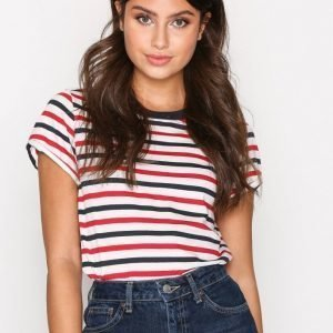 Topshop Striped Roll Back T-Shirt T-Paita Red