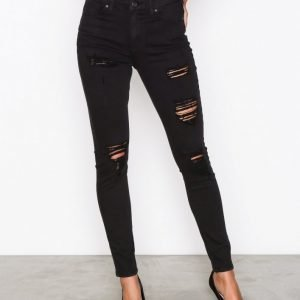 Topshop Super Rip Jamie Jeans Skinny Farkut Black