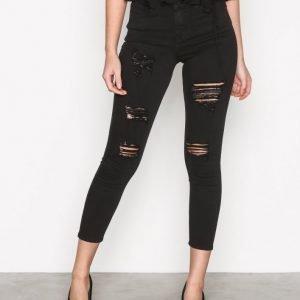 Topshop Super Rip Jamie Jeans Slim Farkut Black