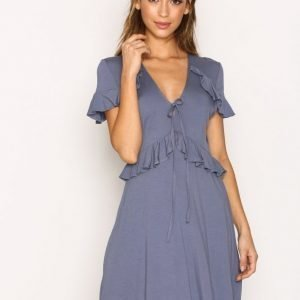 Topshop Tie Front Frill Dress Skater Mekko Grey