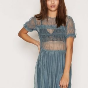 Topshop Tulle Ruched Tee Tunic Skater Mekko Steel