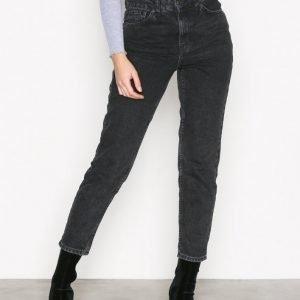 Topshop Washed Black Mom Jeans Straight Farkut Black