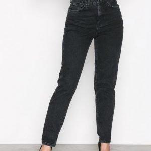 Topshop Washed Black Mom Jeans Straight Farkut Washed Black