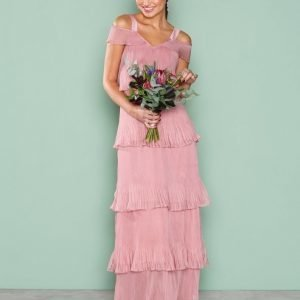True Decadence Cold Shoulder Frill Dress Maksimekko Dusty Pink