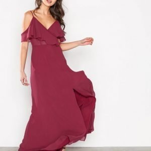 True Decadence Off Shoulder Frill Dress Kotelomekko Wine