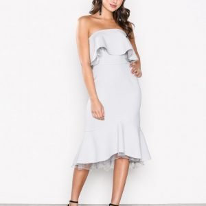 True Decadence Off Shoulder Frill Dress Maksimekko Light Grey
