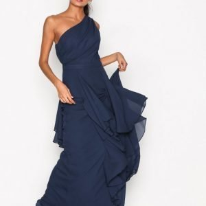 True Decadence One Shoulder Ruffle Dress Maksimekko Navy