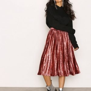 True Decadence Pleated Velvet Skirt Midihame Raspberry