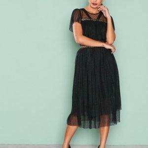 True Decadence Short Sleeve Mesh Detail Dress Loose Fit Mekko Black