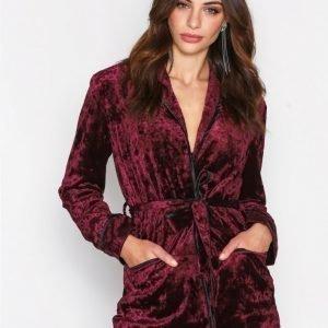 True Decadence Tie Waist Velvet Jacket Jakku Burgundy